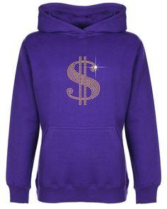 Dollar Sign Rhinestone/Diamante Embellished Kids' Hoodie 3 to 13 Years Unisex #GuildenFDMFruitOfTheLoomorequivalent #Hoodie