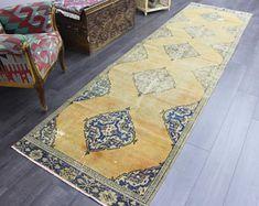 turkish rug oushak rug vintage rug turkey by TurkishRugEmpire Vintage Bohemian, Vintage Rugs, Yellow Rug, Hallway Rug, Rug Runner, Turkey, Wedding Inspiration, Handmade Gifts, Home Decor