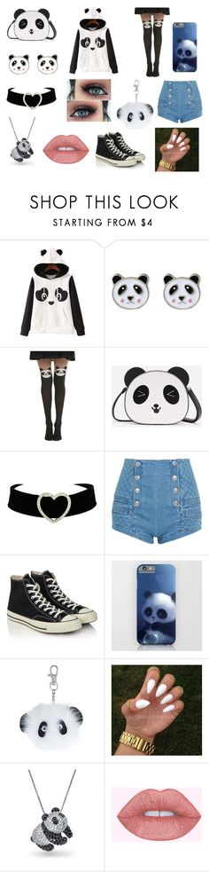 """Panda"" by dream-maker-cx ❤ liked on Polyvore featuring WithChic, Accessorize, Hot Topic, Pierre Balmain, Converse and Bling Jewelry"