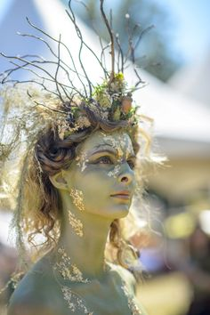 Faerieworlds 2014 - - Lilly is Love Dryad Costume, Wood Nymphs, Fairy Makeup, Makeup Art, Fantasy Makeup, Elven Makeup, Fantasy Hair, Midsummer Nights Dream, Costume Makeup