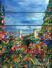 Stained Glass Paintings - Stained Glass Tiffany Landscape Window with Sailboat by Donna Walsh