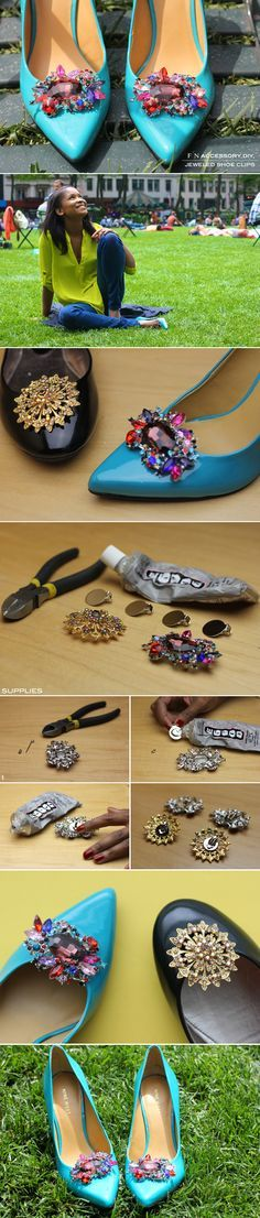 FRUGAL-NOMICS.COM DIY: Jeweled Shoe Clip #jewels #shoeclip #diy |  Details on Frugal-nomics.com/diy