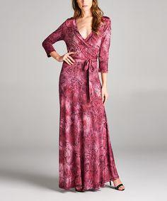 Burgundy Abstract Wrap Maxi Dress #zulily #zulilyfinds