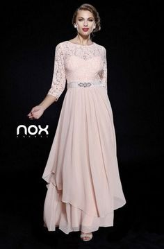 3/4 Length Sleeve Lace Top Dress by Nox Anabel 5127