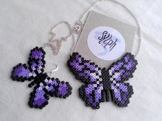 Necklace & combo made of Hama Mini Beads: Flutterby by SylphDesigns