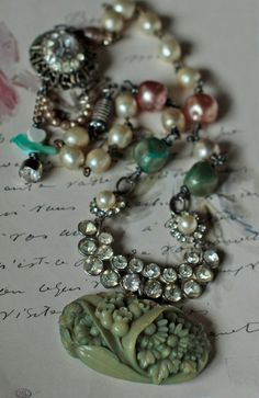 English Garden - vintage assemblage floral necklace with rhinestone bakelite Haskell pearls