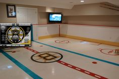 Indoor ice hockey rink but mine would be in the flyers logo Man Cave Diy, Man Cave Gifts, Men Cave, Backyard Ice Rink, Hockey Decor, Hockey Gifts, Ice Hockey Rink, Hockey Bedroom, Sports Man Cave