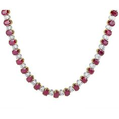 47.15 Carat Oval Ruby and Diamond Necklace ❤ liked on Polyvore featuring jewelry, necklaces, diamond jewellery, ruby jewellery, oval necklace, 18 karat gold jewelry and diamond jewelry