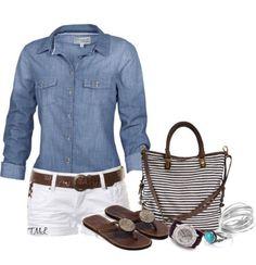 Love the combination . Shorts need to be longer...Maybe capri pants. DC