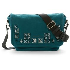 Marc Jacobs Canvas Chipped Stud Small Messenger Bag (245 AUD) ❤ liked on Polyvore featuring bags, messenger bags, teal, long strap bags, marc jacobs, travel messenger bag, canvas messenger bag and marc jacobs messenger bag