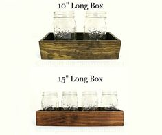 Made to Order: 10 Inch, 15 Inch Wood Centerpiece Box - Short Rustic Wooden Box - Small Wooden Candle Box - Mason Jar Holder - Kitchen Boxes