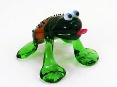 Green Glass Frog Figurine Blown Sculpture murano art collectible gifts artglass lampwork boro toy Glass Frog Miniature Homedecor sea glass