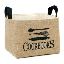 """""""Cookbooks"""" Burlap Storage Basket"""