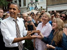 Obama recognizes actress Sissy Spacek, best known for her role as Carrie, during a campaign stop in Charlottesville, Va.