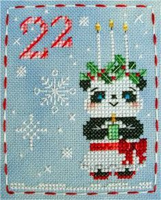Ping Panda, in the Brooke's Books Advent Animals Freebies Collection by… Xmas Cross Stitch, Cross Stitching, Cross Stitch Embroidery, Hand Embroidery, Cross Stitch Designs, Cross Stitch Patterns, Cross Stitch Freebies, Christmas Cross, Blackwork