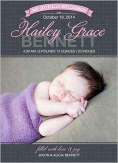 Welcome Greetings Girl Birth Announcement by Elizabeth Victoria Designs | shutterfly.com