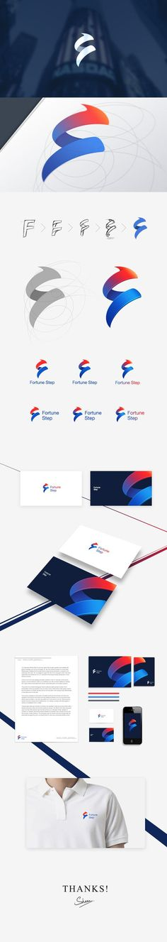 Fortune Step logo design and applied identity. I think I like the monochrome version better:
