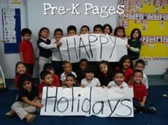 Create class holiday cards to send to parents and admin. via www.pre-kpages.com