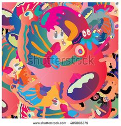 Vector colorful abstract cute monster illustration