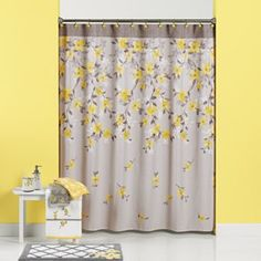 Spring Garden Floral Fabric Shower Curtain, Grey