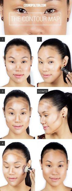 Makeup Tips To Make You Look Younger Makeup Tutorial: How to Contour Your Face . Makeup Tips To Make You Look Younger Makeup Tutorial: How to Contour Your Face Makeup Tips To Make You Look Yo Make Up Contouring, Tutorial Contouring, How To Contour Your Face, Contouring Makeup, Makeup Tricks, Contouring And Highlighting, Eye Makeup, Makeup Ideas, Contour Face