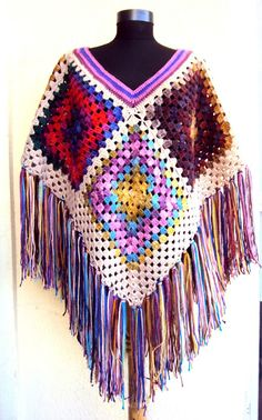 Crochet Afghan Poncho Granny Square Big Poncho Kaleidoscope Hippie Style Cape Bohemian Sweater Women Clothing Fashion Accessories