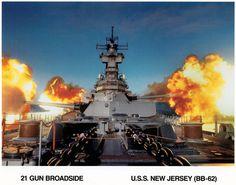 USS New Jersey firing guns broadside, one time event! Naval History, Military History, Us Battleships, Heavy Cruiser, Capital Ship, Us Navy Ships, Navy Military, Big Guns, United States Navy