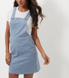 Blue Stripe Dungaree Pinafore Dress  | New Look