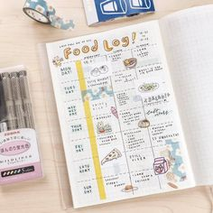 Ooooh food trackers in your bullet journal are such a good idea for making sure that you're not eating too much junk! Planner Bullet Journal, Bullet Journal Notes, Bullet Journal Aesthetic, Bullet Journal Writing, Bullet Journal Ideas Pages, Bullet Journal Layout, My Journal, Bullet Journal Inspiration, Journal Pages