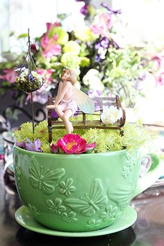 tea cup fairy gardens | French Garden Bench : Obsession With Butterflies, Butterfly, Dragonfly ...