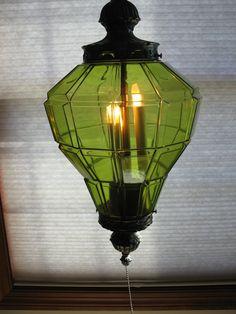 STUNNING 70s green glass swag lamp - CUT GLASS - retro lighting- avocado green art glass
