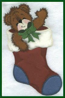 Threadsketches' Bearly Christmas, Christmas embroidery designs, bear in stocking