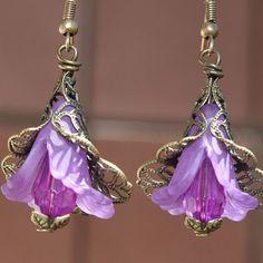 Purple Earrings  Flower Earrings  Antique by LeBouiBouiaBouBou, $20.00