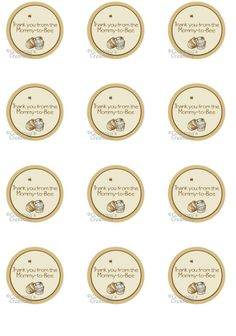 """Instant Download Classic Winnie the Pooh inspired 1.5"""" Thanks you tags for favors on Etsy, $5.00"""