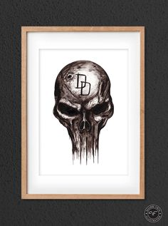 Daredevil Print // The Punisher // Marvel Hero Print // Ink Drawing // Marvel Comic Fan Art // dd Poster Punisher Marvel, Daredevil, Marvel Heroes, Marvel Comics, Home Deco, Birthday Gifts, Fan Art, Etsy Shop, Ink
