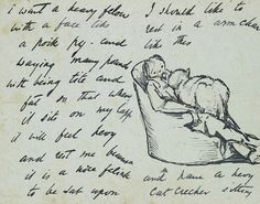 One of Burne-Jones's goofy, charming letters to children. He wants a to sit in an arm chair with a very large cat on his lap.