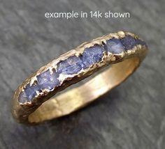 18k Raw Sapphire Men's Wedding Band Custom One Of a Kind Blue Montana Gemstone Ring Multi stone Ring byAngeline