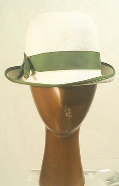 Vintage White With Green Trim Fedora available at LAVINTAGEVILLAIN  https://www.etsy.com/listing/190434351/vintage-womens-white-straw-fedora-with