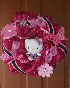 Hey, I found this really awesome Etsy listing at https://www.etsy.com/listing/184227858/hello-kitty-inspired-wreath