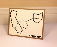 I Miss You - Long Distance Card - Customizable State Card. $4.00, via Etsy.