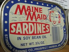 Discover Maine Coast Sardine History Museum in Jonesport, Maine: The whole of Maine's history with the salty little fish is packed into this tiny coastal museum. Tin Containers, Little Fish, Vintage Fishing, Vintage Tins, My Town, History Museum, Packaging Design, Maine, Coastal