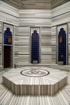 Hamam, Turkish Bath at Kempinski Hotel Barbaros Bay, Bodrum Sauna Steam Room, Kempinski Hotel, Turkish Bath, Floor Ceiling, Spa Design, Bathroom Spa, Villa, Terrazzo, Visual Merchandising