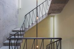 Havre Derelict House in Mexico City Transformed into Mixed-Use Venue by Francisco Pardo & Julio Amezcua Railing Design, Stair Railing, Railings, Derelict House, Land Use, Concrete Structure, Brick Building, Coworking Space, Exposed Brick