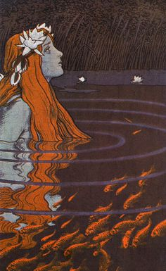 """""""Mermaid in a Pool with Goldfish"""" Franz Hein, 1904 - color lithograph. """"But a mermaid has no tears, therefore she suffers so much more"""" The Little Mermaid by Hans Christian Andersen Art Nouveau, Art Magique, Bild Tattoos, Mermaid Art, Vintage Mermaid, Mermaid Paintings, Tattoo Mermaid, Water Nymphs, Art Et Illustration"""