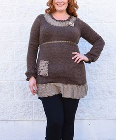 Loving this Taupe & Brown Rosette Wool-Blend Empire-Waist Tunic - Plus on #zulily! #zulilyfinds