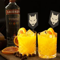 BEYOND THE WALLBANGER. Rule your viewing party with the delicious Beyond the Wallbanger of House Smirnoff, Commander of Cocktails, the first of its name.  Just mix 1.5 oz Smirnoff Vodka, .25 oz Hazelnut Liqueur, 3 oz Orange Juice, and some orange slices.