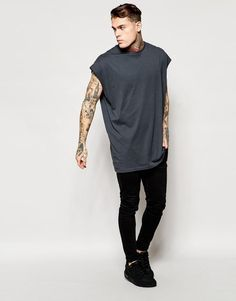 Super Oversized Sleeveless T-Shirt In Gray With Raw Edge