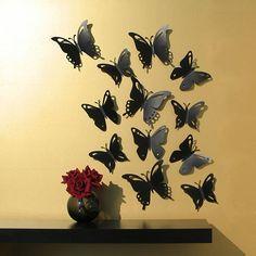 Butterfly Wall Decor, Pop-up Set of 12 Black Butterflies, Popart