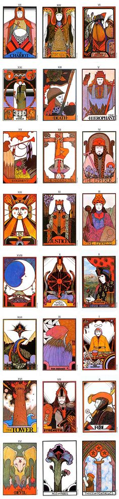Aquarian Tarot. One of the decks I own. The artwork is cool. Somehow it manages to combine a deco or art nouveau asthetic with a 1970's retro color scheme.