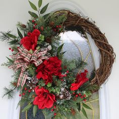 Winter Cardinal Wreath, Magnolia Wreath, Christmas Wreath, Front Door Wreath, Holiday Wreath, Holiday Decor, Christmas Decor, Country Wreath by PrissyPetalsBoutique on Etsy